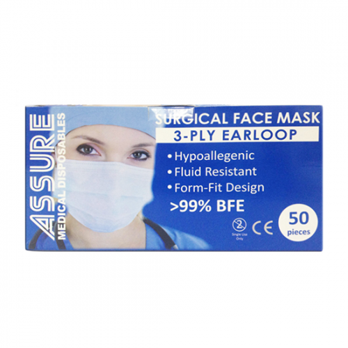 3-ply Face Mask Assure Earloop Surgical