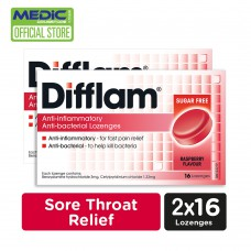 Difflam Anti inflammatory And Anti bacterial Lozenges- Raspberry Flavour 16s [Pack of 2]